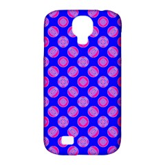 Bright Mod Pink Circles On Blue Samsung Galaxy S4 Classic Hardshell Case (pc+silicone) by BrightVibesDesign
