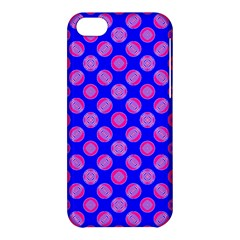 Bright Mod Pink Circles On Blue Apple Iphone 5c Hardshell Case by BrightVibesDesign