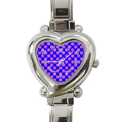 Bright Mod Pink Circles On Blue Heart Italian Charm Watch by BrightVibesDesign