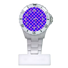 Bright Mod Pink Circles On Blue Plastic Nurses Watch by BrightVibesDesign