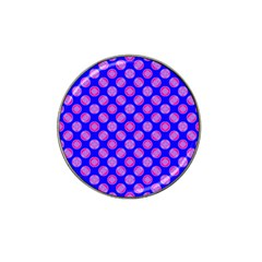 Bright Mod Pink Circles On Blue Hat Clip Ball Marker by BrightVibesDesign