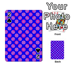 Bright Mod Pink Circles On Blue Playing Cards 54 Designs  by BrightVibesDesign