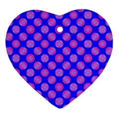 Bright Mod Pink Circles On Blue Heart Ornament (2 Sides) by BrightVibesDesign