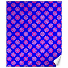 Bright Mod Pink Circles On Blue Canvas 8  X 10  by BrightVibesDesign