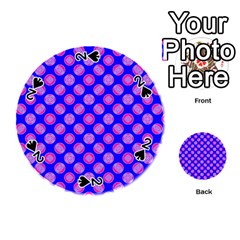 Bright Mod Pink Circles On Blue Playing Cards 54 (round)  by BrightVibesDesign