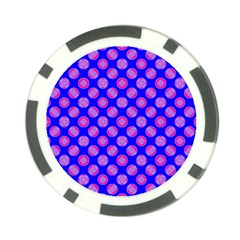 Bright Mod Pink Circles On Blue Poker Chip Card Guards (10 Pack)  by BrightVibesDesign
