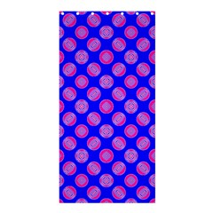 Bright Mod Pink Circles On Blue Shower Curtain 36  X 72  (stall)  by BrightVibesDesign