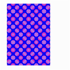 Bright Mod Pink Circles On Blue Large Garden Flag (two Sides) by BrightVibesDesign