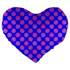 Bright Mod Pink Circles On Blue Large 19  Premium Flano Heart Shape Cushions by BrightVibesDesign