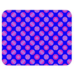 Bright Mod Pink Circles On Blue Double Sided Flano Blanket (medium)  by BrightVibesDesign