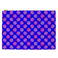 Bright Mod Pink Circles On Blue Cosmetic Bag (xxl)  by BrightVibesDesign