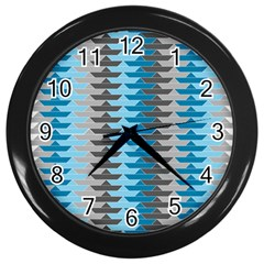 Pattern Boats Background Ship Wall Clocks (black) by AnjaniArt