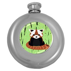 Red Panda Bamboo Firefox Animal Round Hip Flask (5 Oz)