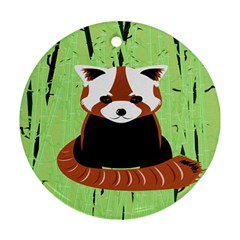 Red Panda Bamboo Firefox Animal Round Ornament (two Sides)