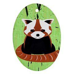 Red Panda Bamboo Firefox Animal Oval Ornament (two Sides)