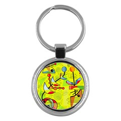 Happy Day - Yellow Key Chains (round)  by Valentinaart