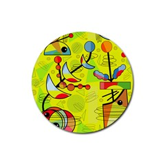 Happy Day   Yellow Rubber Coaster (round)  by Valentinaart