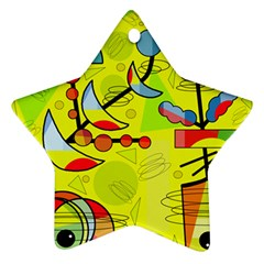 Happy Day   Yellow Star Ornament (two Sides)  by Valentinaart