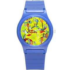 Happy Day   Yellow Round Plastic Sport Watch (s)