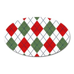 Red Green White Argyle Navy Oval Magnet by AnjaniArt