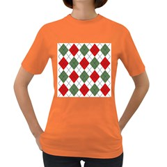 Red Green White Argyle Navy Women s Dark T Shirt