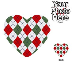Red Green White Argyle Navy Multi Purpose Cards (heart)  by AnjaniArt