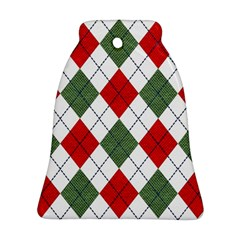 Red Green White Argyle Navy Bell Ornament (2 Sides)