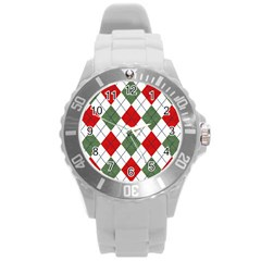 Red Green White Argyle Navy Round Plastic Sport Watch (l)