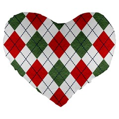 Red Green White Argyle Navy Large 19  Premium Heart Shape Cushions by AnjaniArt