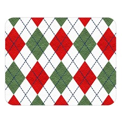 Red Green White Argyle Navy Double Sided Flano Blanket (large)