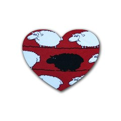 Sheep Pattern Rubber Coaster (heart)  by AnjaniArt