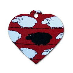 Sheep Pattern Dog Tag Heart (one Side)