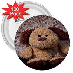 Stuffed Animal Fabric Dog Brown 3  Buttons (100 Pack)