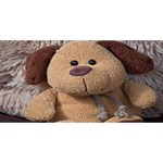 Stuffed Animal Fabric Dog Brown Merry Xmas 3D Greeting Card (8x4) Front