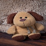 Stuffed Animal Fabric Dog Brown Merry Xmas 3D Greeting Card (8x4) Inside
