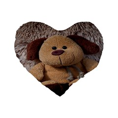 Stuffed Animal Fabric Dog Brown Standard 16  Premium Heart Shape Cushions by AnjaniArt