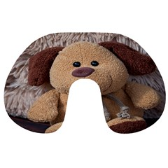 Stuffed Animal Fabric Dog Brown Travel Neck Pillows by AnjaniArt