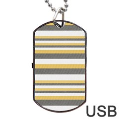 Textile Design Knit Tan White Dog Tag Usb Flash (two Sides)  by AnjaniArt