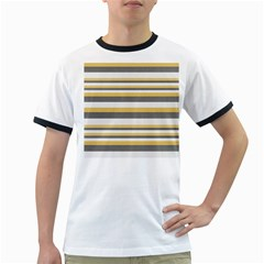 Textile Design Knit Tan White Ringer T Shirts