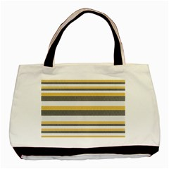Textile Design Knit Tan White Basic Tote Bag (two Sides)