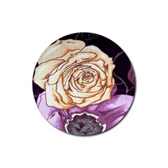 Texture Flower Pattern Fabric Design Rubber Coaster (round)