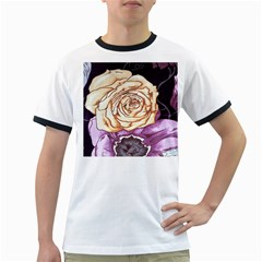 Texture Flower Pattern Fabric Design Ringer T-shirts by AnjaniArt