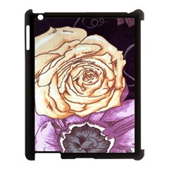 Texture Flower Pattern Fabric Design Apple Ipad 3/4 Case (black) by AnjaniArt