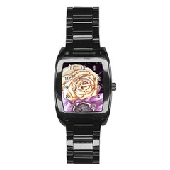 Texture Flower Pattern Fabric Design Stainless Steel Barrel Watch by AnjaniArt