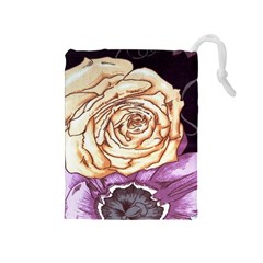 Texture Flower Pattern Fabric Design Drawstring Pouches (medium)