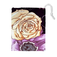 Texture Flower Pattern Fabric Design Drawstring Pouches (extra Large) by AnjaniArt