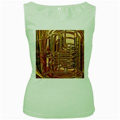 Tuba Valves Pipe Shiny Instrument Music Women s Green Tank Top