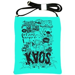 Typography Illustration Chaos Shoulder Sling Bags by AnjaniArt