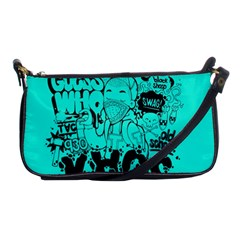 Typography Illustration Chaos Shoulder Clutch Bags by AnjaniArt