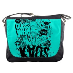 Typography Illustration Chaos Messenger Bags by AnjaniArt